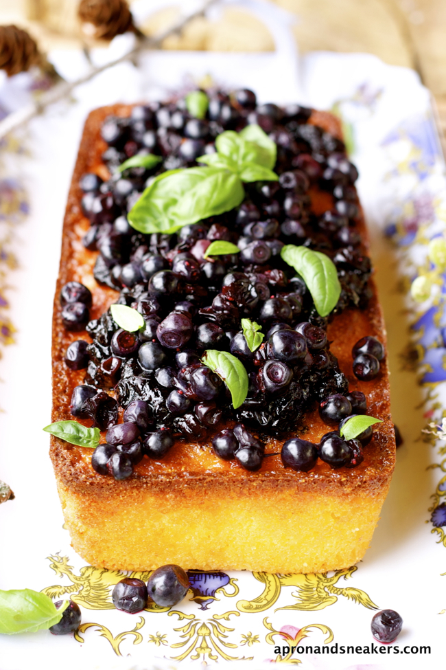 Lemon Polenta Cake with Wild Blueberry Sauce and the Beautful City of Merano