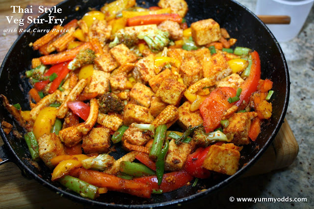 Thai Style Veg and Tofu Stir-Fry ( with Red Curry Paste)