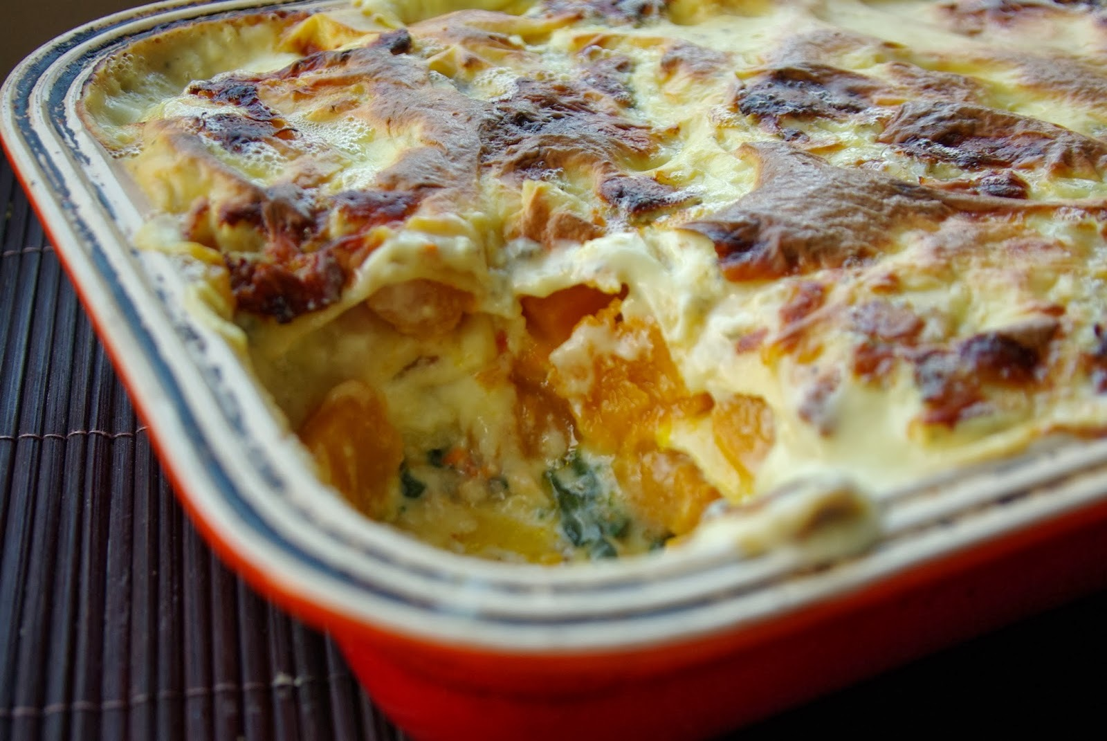 Butternut squash and spinach lasagne with blue cheese