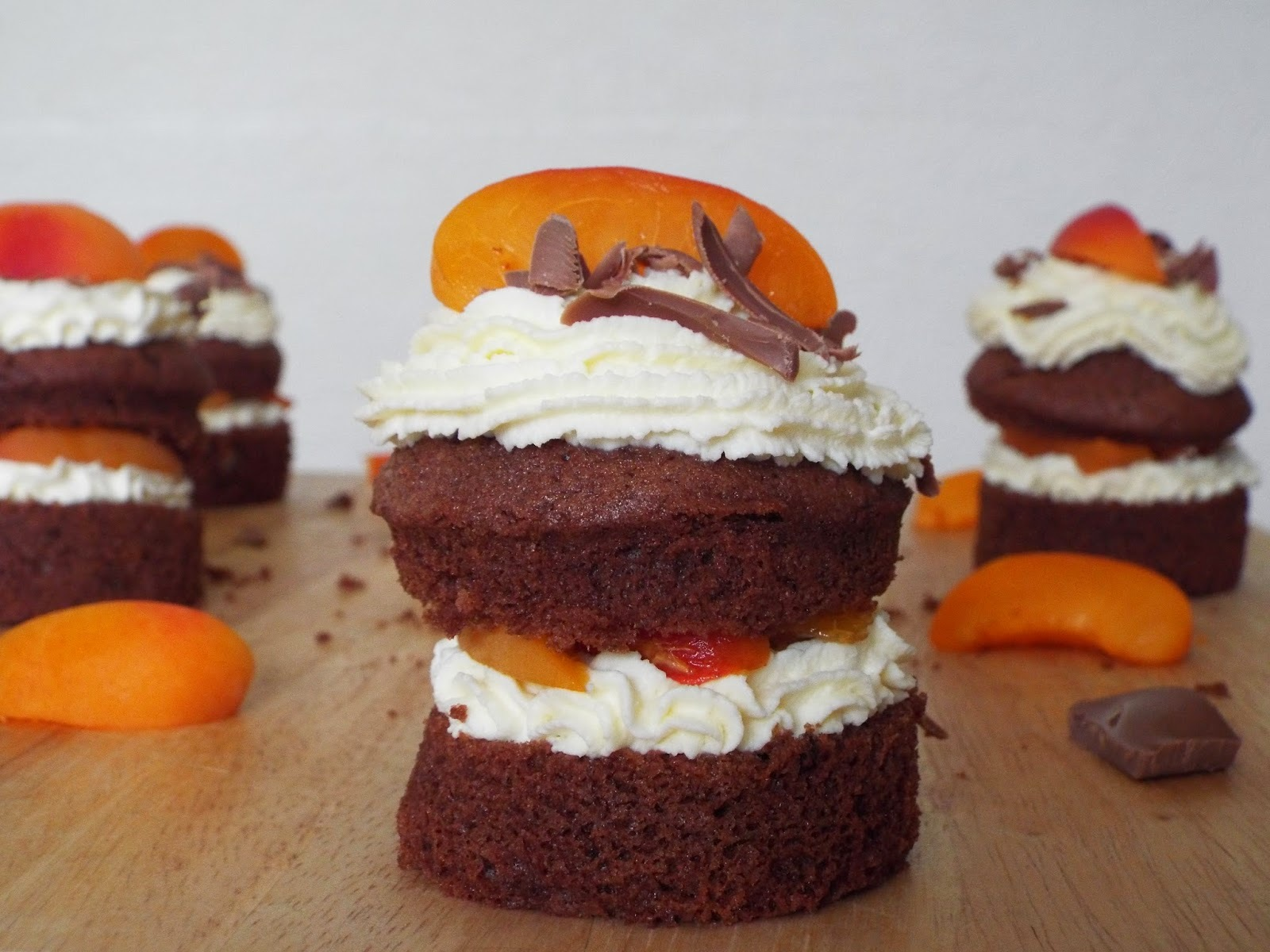 Chocolate and Apricot Cream Cakes