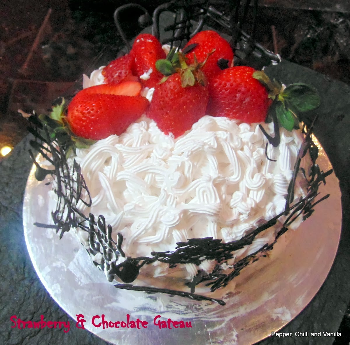 Eggless Chocolate and Strawberry Gateau ...Valentine Special