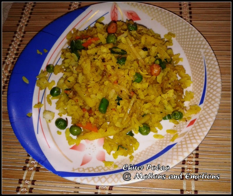 Chirer Pulao (Polao) or Bengali style Poha or Flattened Rice Pulao