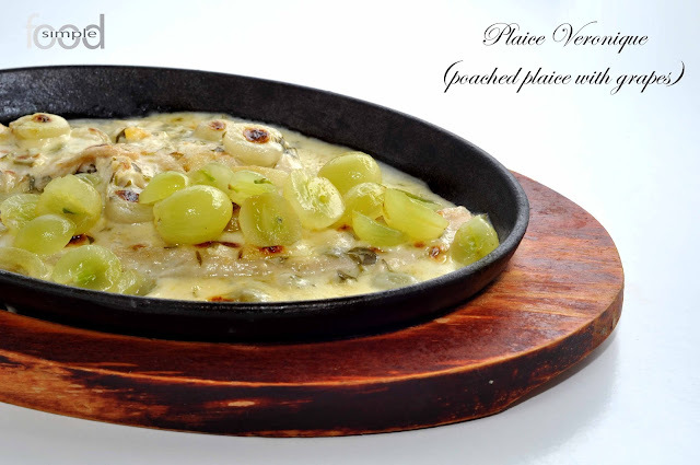 Plaice Veronique (poached plaice with grapes)