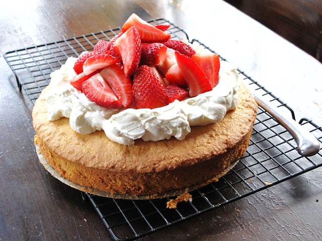 Almond Cornmeal Cake with Whipped Cream Cheese and Strawberries