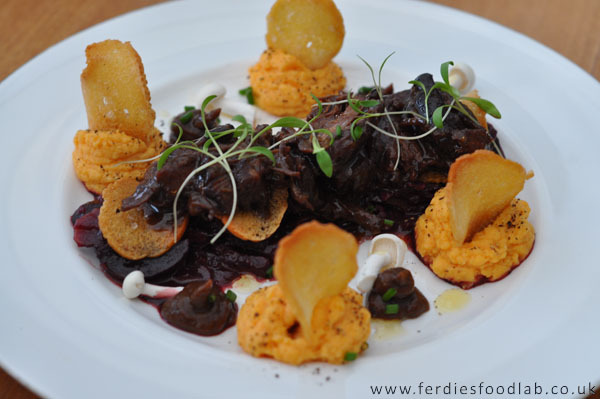Recipe: Oxtail & Sweet Potato Mash w/ Red Cabbage & Beetroot in a Port Reduction