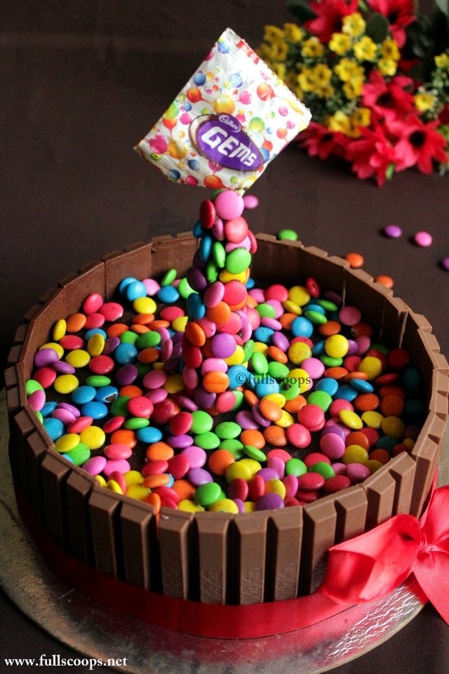 How to make a gravity defying cake | Kit Kat M&M (Gems) Cake