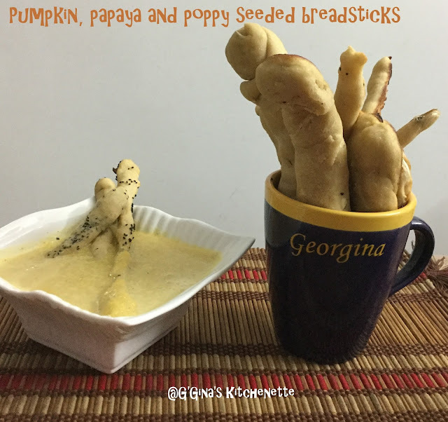 Pumpkin, Poppy and Papaya seeded breadsticks #BreadBakers