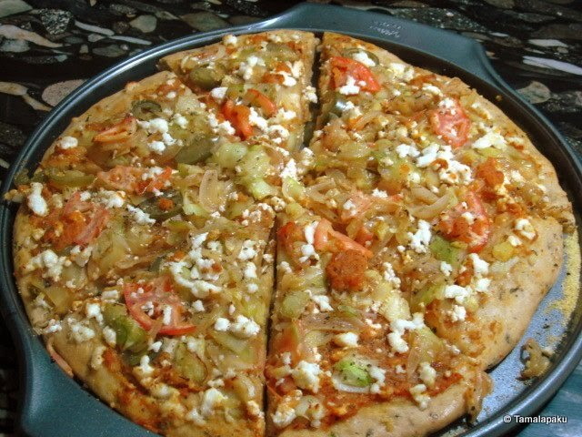 Home Made Paneer Pizza with Whole Wheat