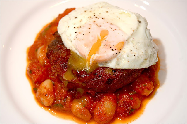 Corned Beef Hash, Spicy Butter Beans