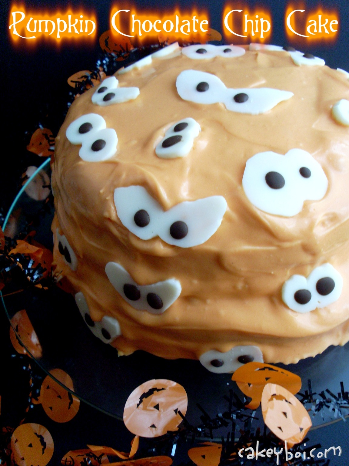Pumpkin Chocolate Chip Cake w/ Cinnamon Cream Cheese Frosting