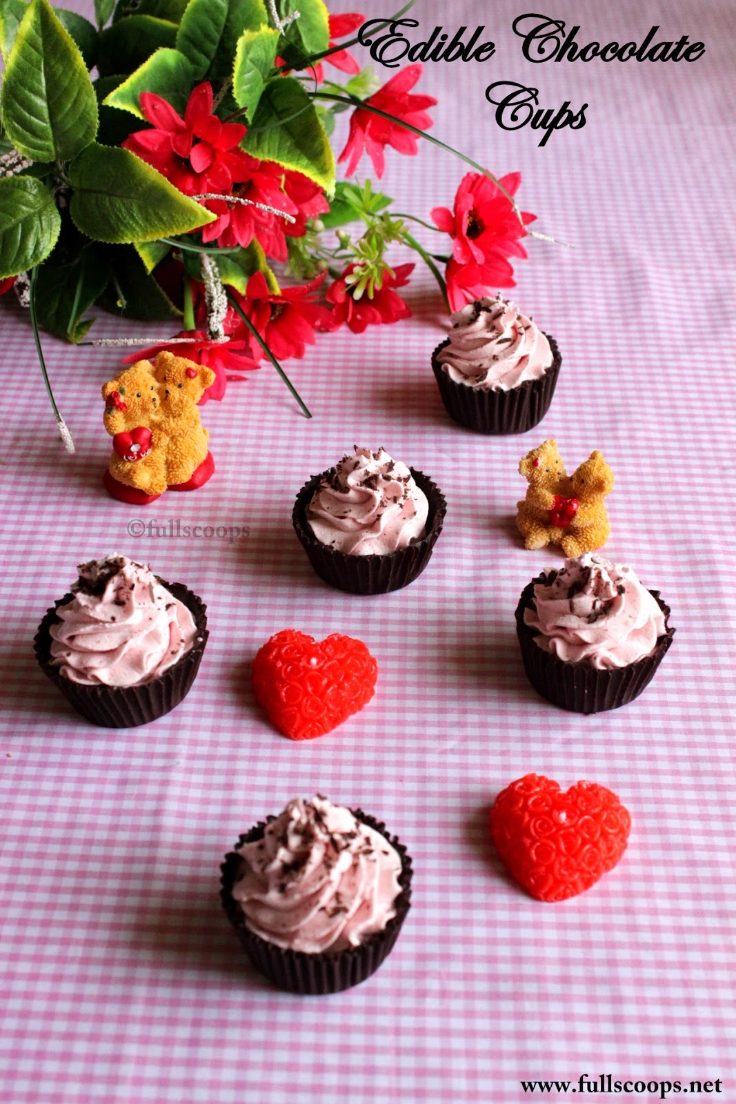 Edible Chocolate Cups with Eggless Strawberry Mousse