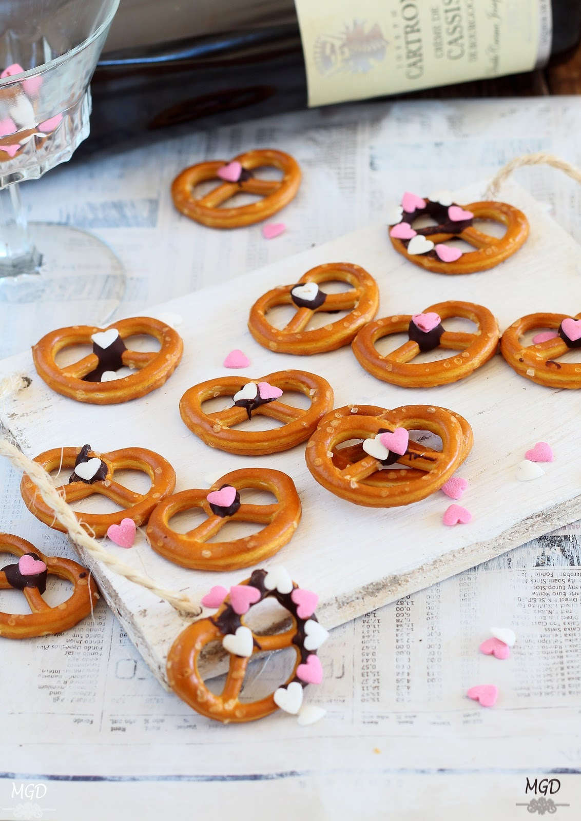 Galletas Pretzel con chocolate - San Valentin