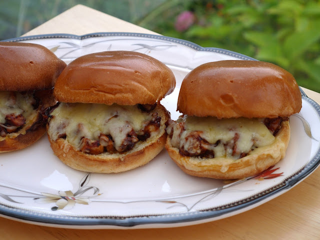 Sweet + Spicy BBQ Chicken Brioche Sandwiches.