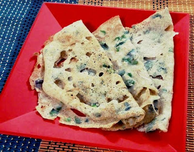 Onion Wheat Rava Dosa