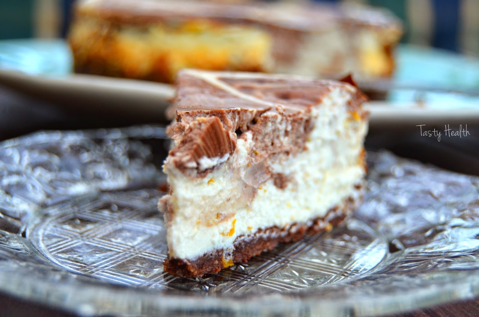 Apelsin proteincheesecake med chokladswirl