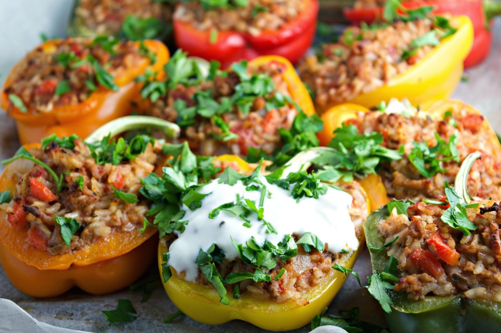 Stuffed Peppers with Minced Pork, Vegetables & Rice