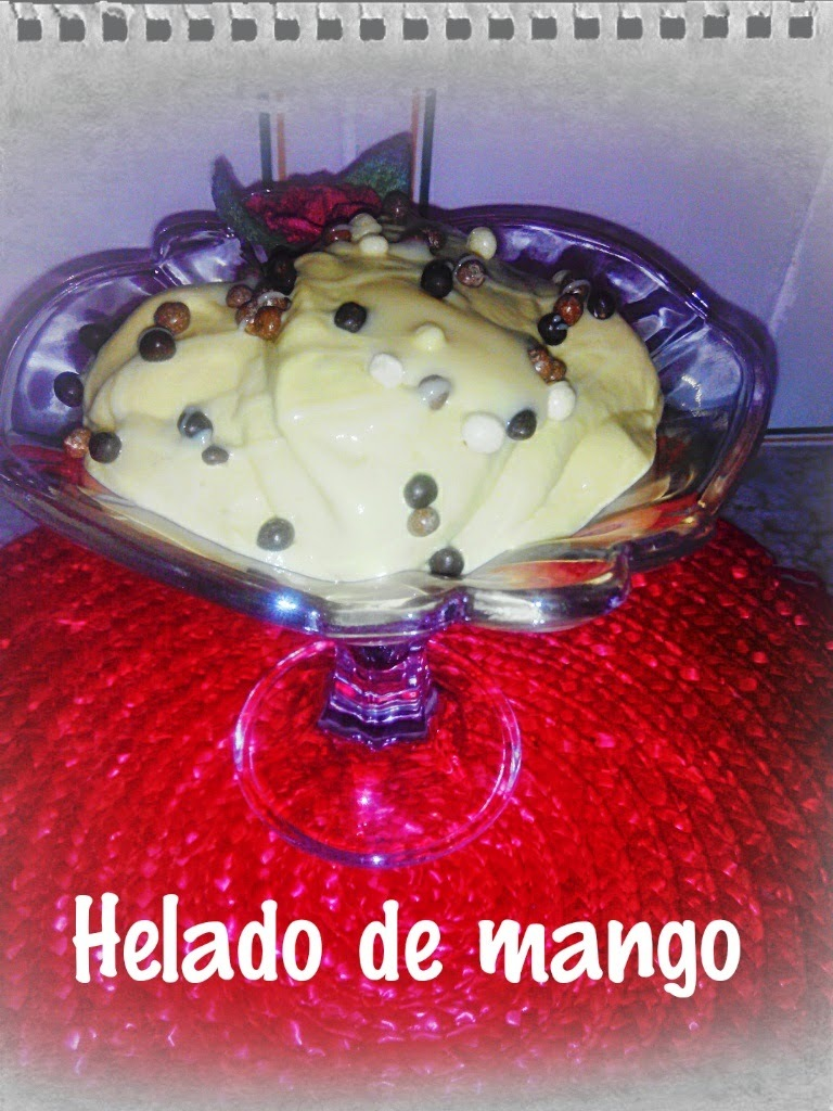 Helado rápido de  mango y leche condensada thremomix , Quick Frozen mango and condensed milk thermomix