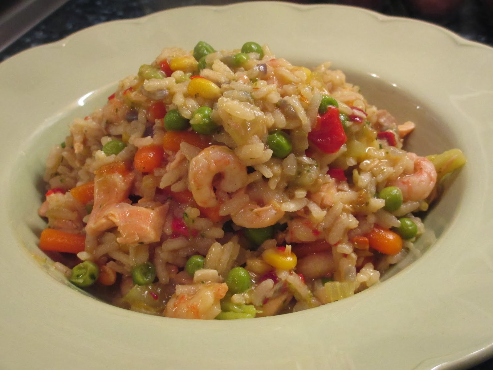 Spicy salmon and prawn risotto