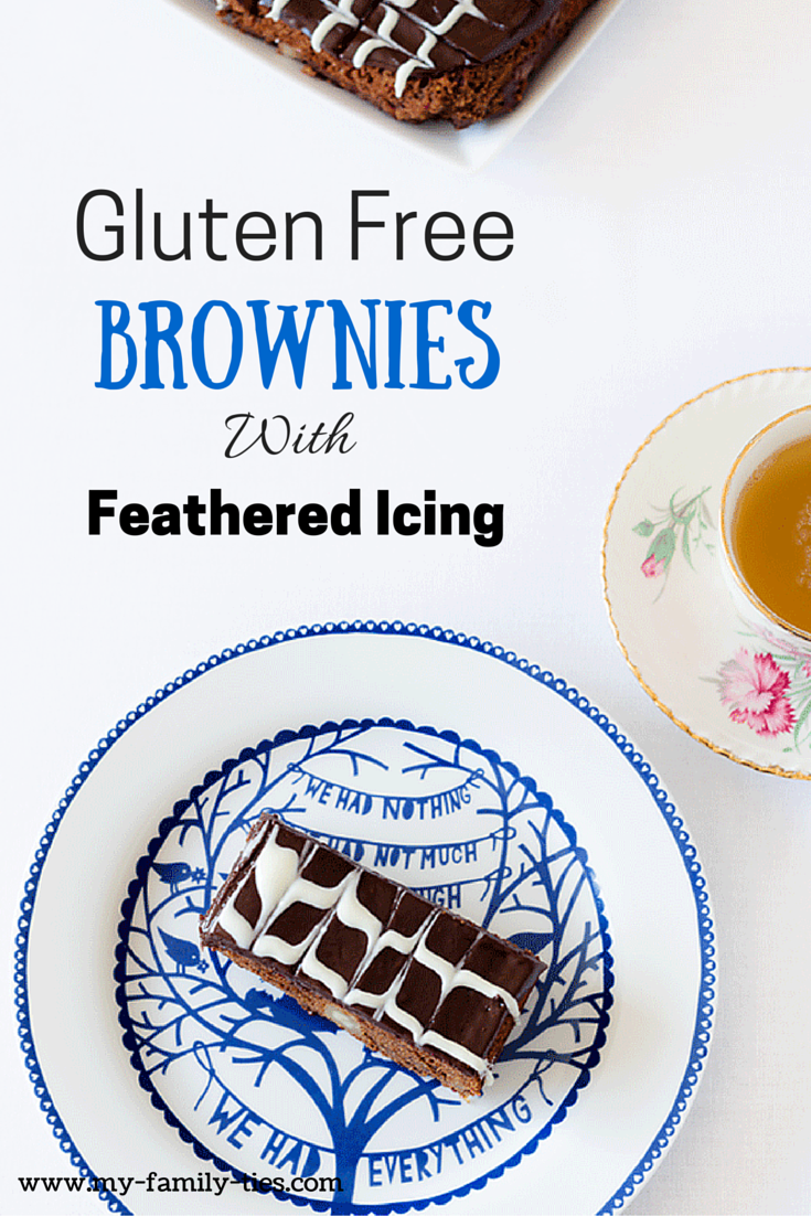 Gluten Free Chocolate & Macadamia Brownies With Feathered Icing