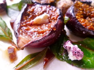 Grilled honeyed figs and labneh cheese salad (infused with middle eastern flavours)