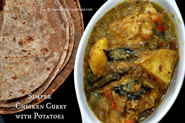 Simple Chicken Curry with Potatoes without Coconut.