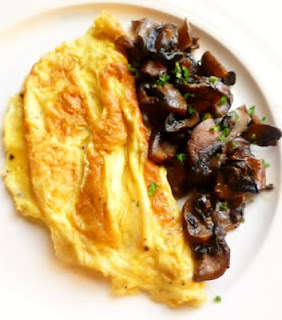 for breakfast, dinner, lunch and tea: a good mushroom omelette