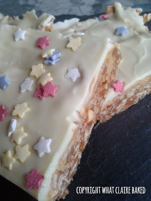 White Chocolate Peanut Snickers Traybake