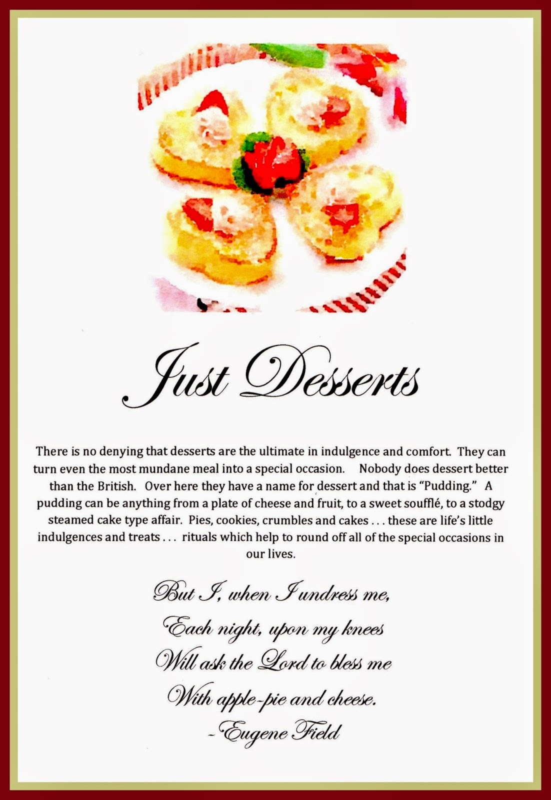 Just Desserts . . . My newest Cookbooklet