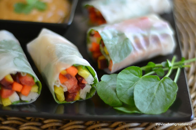 Rainbow Carrot Summer Rolls with  Spicy Peanut Sauce