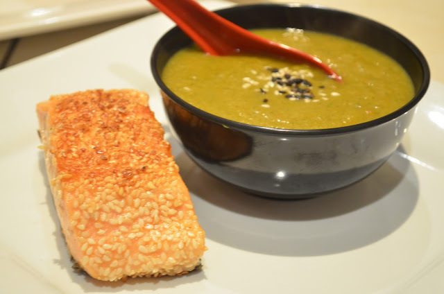 Broccoli, zucchini carrot miso soup with sesame salmon