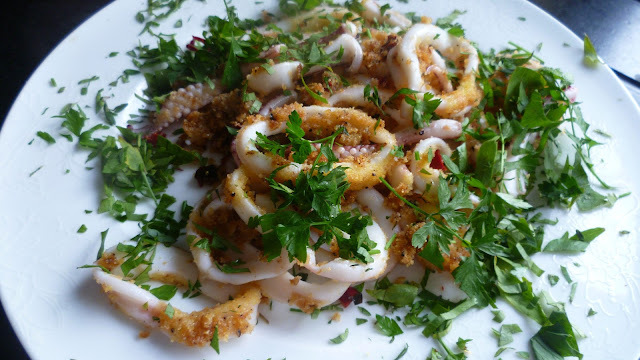 Polenta and chilli crusted squid
