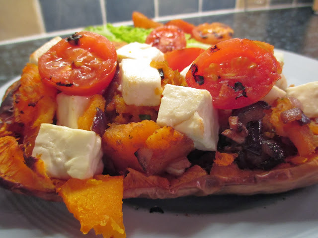 Roasted Squash with feta and chilli