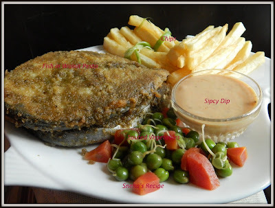 FISH N CHIPS WITH  SAUTEED VEGETABLES AND SPICY DIP