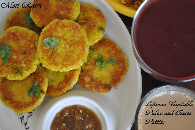 Leftover Vegetable Pulao and Cheese Patties