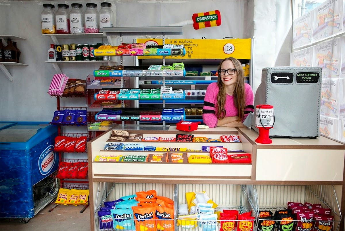 ※ Artist Stocks the Shelves of a London Corner Store with 4,000 Hand-Stitched Felt Products