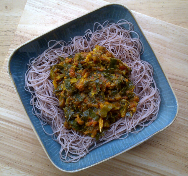 Vegan Gourmet's Vermicelli with Curried Eggplant/Aubergine and Greens in Ginger Tomato Sauce (vegan & gluten-free)