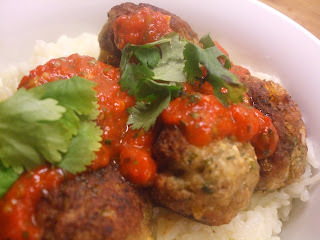Just what is it that you do with turkey mince? - Ottolenghi Turkey Meatballs with roasted pepper and sweet chilli sauce