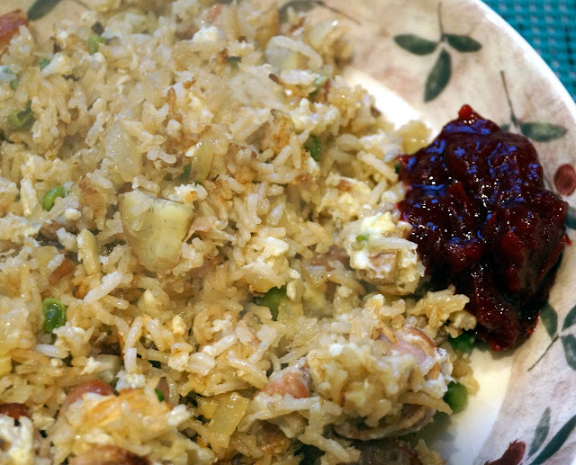 Festive Fried Rice - using up Christmas leftovers