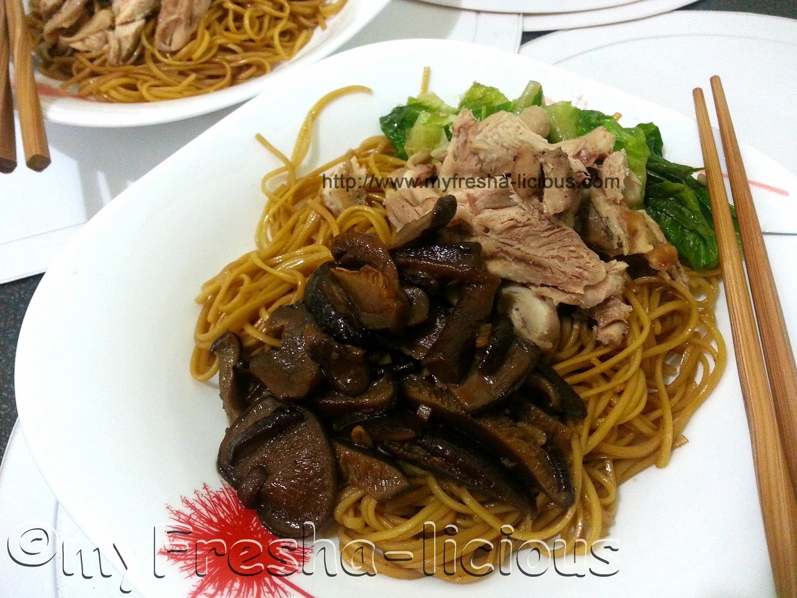 Chicken & Shitake Mushroom Noodles ala Singapore Hawker-Style Noodles