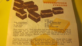 1960s RECIPE FROM BETTY CROCKER FOR BUTTERFUDGE FINGERS
