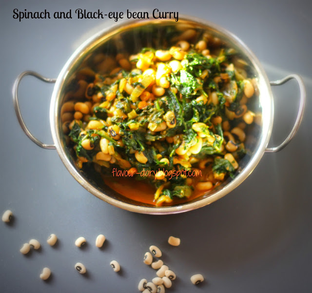 Spinach and Black-eyed bean Curry (Palak Lobia)