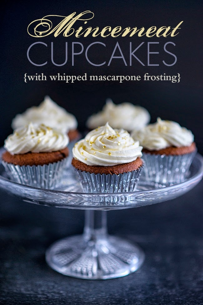 Mincemeat cupcakes with mascarpone frosting