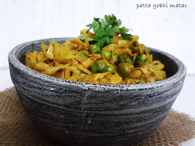 PATTA GOBHI MATAR / CABBAGE WITH PEAS