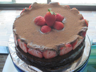 Chocolate Mousse Cake with Strawberries