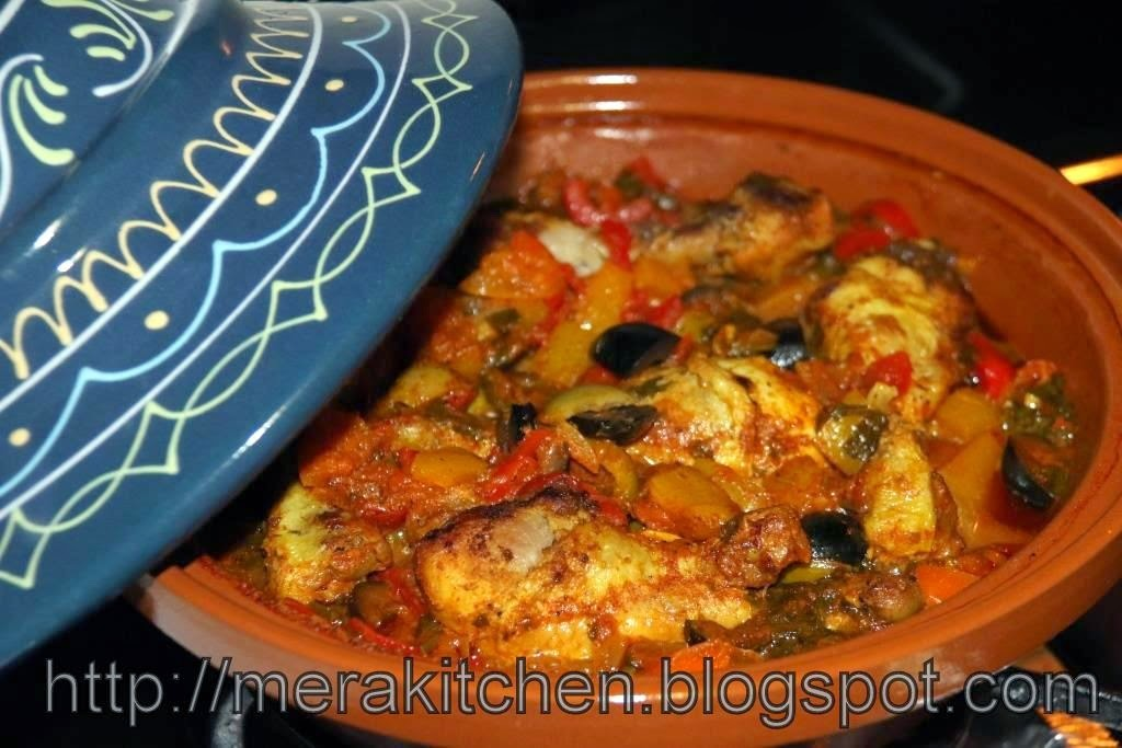 Quick Chicken Tagine with Vegetables, Olives and Preserved Lemons