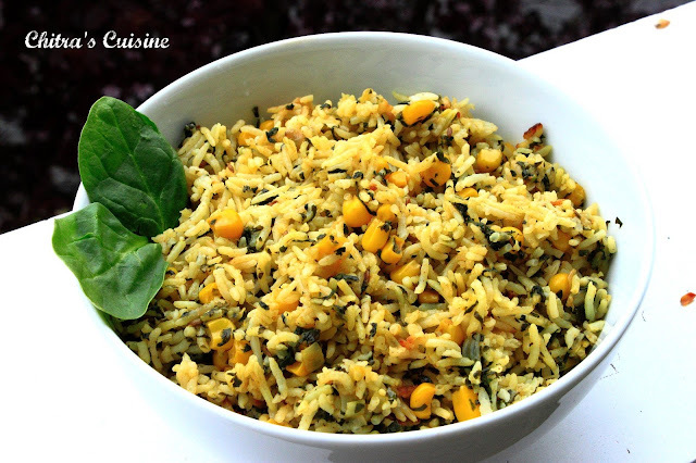 Spinach and Corn Pulao/Spinach Rice