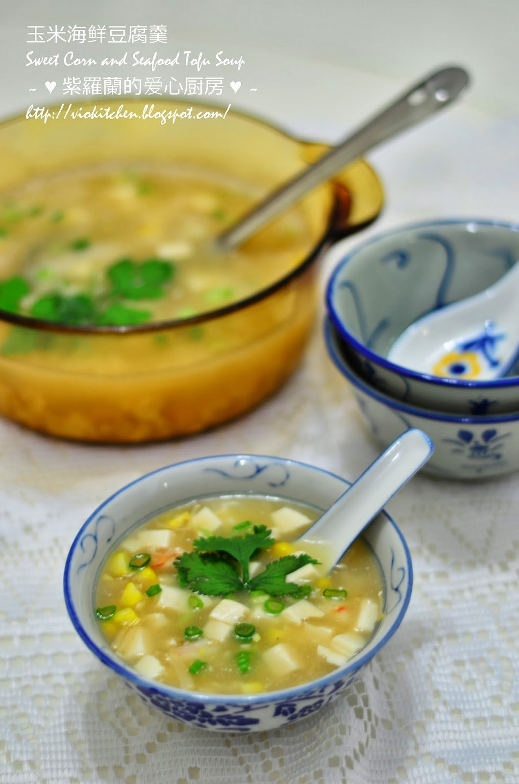 玉米海鲜豆腐羹 Sweet Corn and Seafood Tofu Soup
