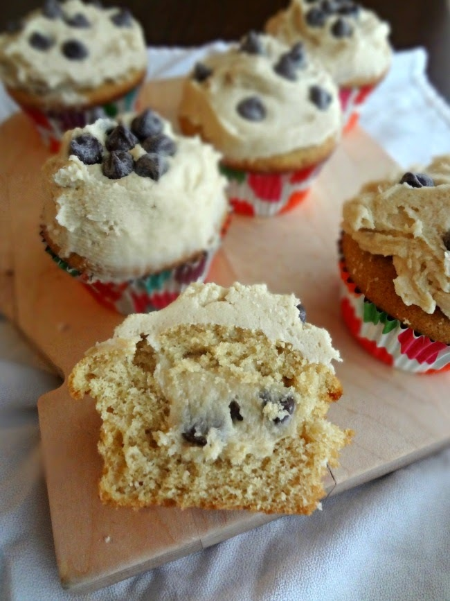 Chocolate Chip Cookie Dough Cupcakes-Cupcake Day!
