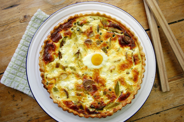 veggie sausage, pea and egg pie