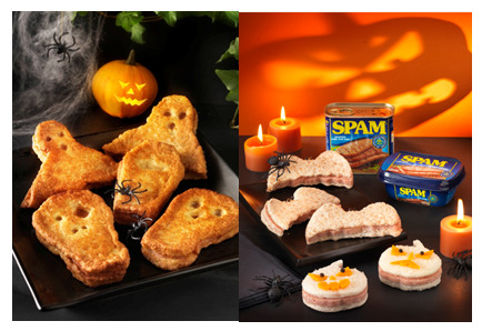 SPAMTASTIC™ Halloween Bat and Pumpkin Sandwiches and SPAM Spooks